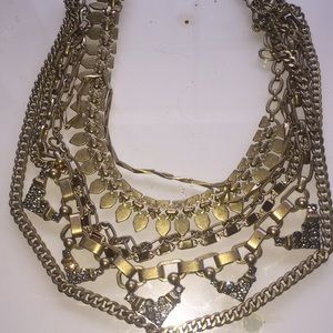 Stella & Dot convertible gold multichain necklace